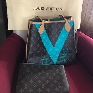 Louis Vuitton Neverfull MM Mono V Turquoise